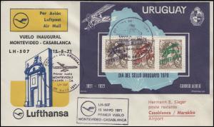 Erstflug Lufthansa LH 507 Montevideo-Casablanca Uruguay-Block Flugpost 15.5.71