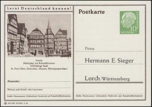 Bildpostkarte Heuss 10 Pf. Fritzlar, Marktplatz mit Rolandsbrunnen, ungebraucht