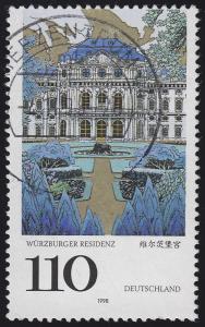2007 Würzburger Residenz - Verzähnung am oberen Bildrand, gestempelt BZ 4.11.98