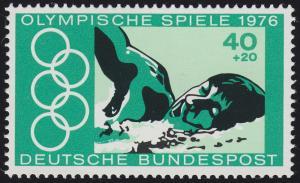 886I Olympiade 40 Pf. mit PLF I grüner Fleck, postfrisch ** mit FA Schlegel BPP