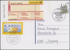 P 162 SWK 100 / 51 ATM-MiF Sonder-R-Zettel Euro-Ganzsachen FDC ESSt Bonn 11.1.01