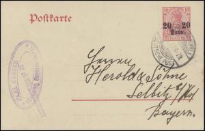 Postkarte P 14 20 Para auf 10 Pf, Constantinopel Deutsche Post 31.1.11