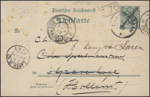 Deutsch-Ostafrika Postkarte P 5 Ziffer 3 auf 5, DAR-ES-SALAAM 1900 nach Holland