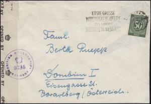 Zensurpost 932 Ziffer 50 Pf. EF Brief KREFELD Lotterie 6.12.47 n. Österreich
