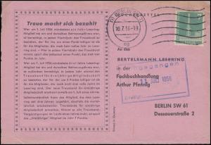 135 Stadtbilder 7 Pf. als EF auf Orts-Drucksache / Bücherzettel BERLIN 10.7.56