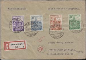 162-165A Leipziger Messe, 4 Werte, Satz auf R-Brief PLAUEN / VOGTLAND 6.6.46