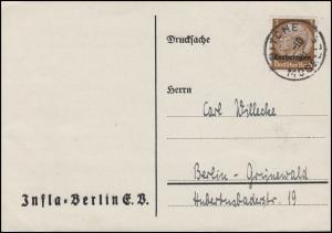 Lothringen 1 Hindenburg 3 Pf. EF Drucksache Infla-Berlin, BITCHE MOSELLE 1.10.40