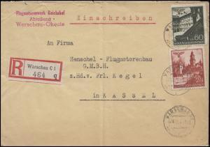 45+49 Bauwerke MiF R-Brief Motorenwerk Reichshof WARSCHAU 24.11.41 nach Kassel