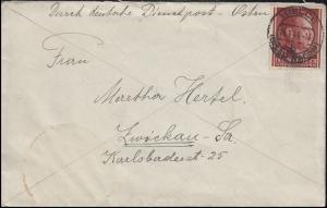 Durch deutsche Dienstpost 78 Freimarke 24 Gr EF Bf. KIELCE 14.1.44 nach Zwickau