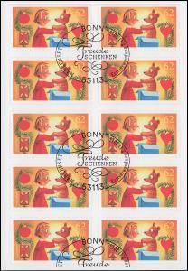 FB 50 Weihnachten - Freude schenken, Folienblatt mit 10x 3187, EV-O Bonn 2.11.15