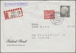 189 Heuss 50 Pf mit Berlin 113 Stadtbilder 20 Pf MiF R-Bf. BRAUNSCHWEIG 8.2.57
