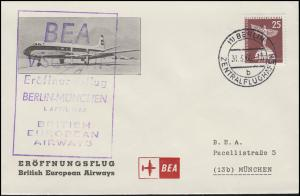 Erstflug BEA Berlin-München 1.4.1960, Bf EF Berlin 147 BERLIN-ZENTRALFL. 31.3.60