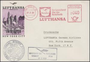 Luftpost LUFTHANSA-AFS Köln 27.2.59 Lufthansa LH 420 nach New York zur INTERPEX