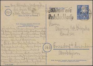 Postkarte P 36a/01 Engels 10 Pf. mit DV M 301 / 8088, HALLE / SAALE 13.6.49