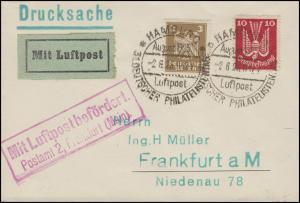 Luftpost Mit Luftpost befördert Postamt 2 Frankfurt/Main, mit SSt HAMBURG 2.8.25
