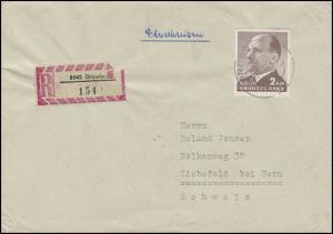1088 Ulbricht 2 MDN als EF R-Brief Tauschsendung DRESDEN 16.8.72 in die Schweiz