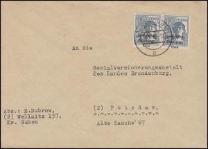 186 SBZ-Aufdruck 12 Pf. Paar - Aufdruck stark verschoben MeF BERLIN 30.11.48