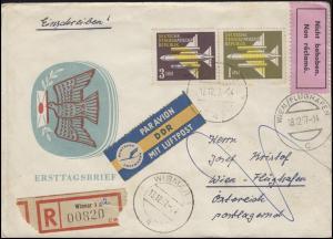 613+614 Flugpostmarken 1+3 DM MiF auf Luftpost-R-FDC WISMAR 13.12.57 nach Wien