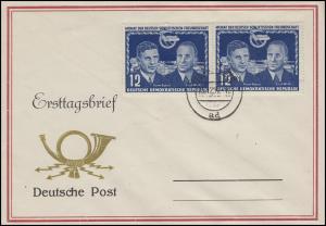 296 Deutsch-sowjetische Freundschaft 2x 12 Pf. Schmuck-FDC BERLIN 15.12.51