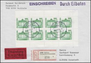 3346 Bauwerke 8x 50 Pf als Heftchenblatt-Teil MeF auf Eil-R-FDC SCHLEIZ 2.10.90