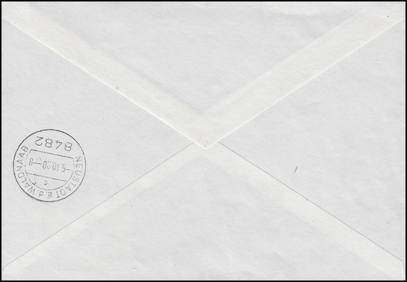 3346 Bauwerke 8x 50 Pf als Heftchenblatt-Teil MeF auf Eil-R-FDC SCHLEIZ 2.10.90 1