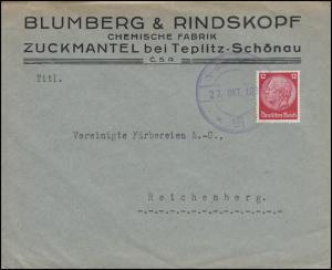Hindenburg 12 Pf EF auf Brief ZUCKMANTEL bei TEPLITZ-SCHÖNAU 27.10.1938