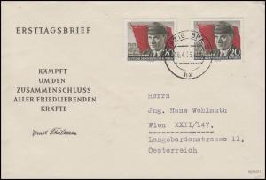 520A Ernst Thälmann 2x20 Pf MeF Schmuck-FDC LEIPZIG 16.4.56 nach Wien/Österreich
