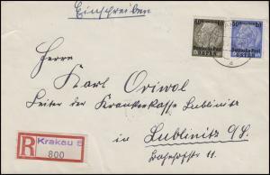 9+10 Deutsche Post in Osten 50+60 Gr. MiF Not-R-Zettel R-Bf. KRAKAU 29.3.40