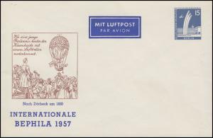 Privatumschlag PP 17/6 Luftbrückendenkmal 15 Pf. BEPHILA 1957, postfrisch **