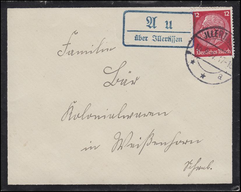Hindenburg 12 Pf. als EF auf Trauerbrief Landpost AU über ILLERTISSEN 16.9.37 0