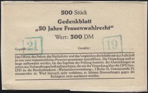 Block 5 Frauenwahlrecht: Banderole für 500 Blöcke