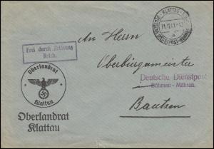 Deutsche Dienstpost Böhmen - Mähren Oberlandrat KLATTAU 21.12.41 nach Bautzen