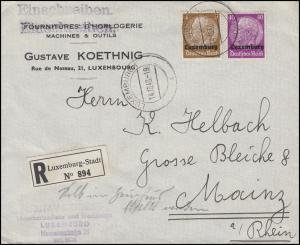 Luxemburg 1+12 Hindenburg Aufdruck 3+40 Pf R-Brief LUXEMBURG 14.10.40 nach Mainz