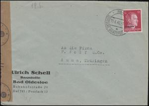 Zensurpost Deutsche Dienstpost Ostland 6 EF Brief RIGA 15.6.42 nach Auma/Thür.