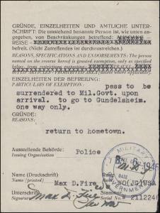 Dokument Militärregierung-Befreiung Reise Gundelsheim-Breslau, Polizei 8.6.1945