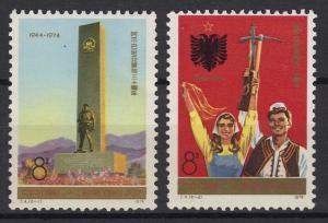 China 1217-1218 Befreiung Albaniens Jahrestag 1974, 2 Werte komplett, **