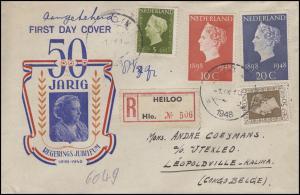 507-508 Regierungsjubiläum 1948, Satz auf Schmuck-Einschreiben HEILOO 1.9.1948