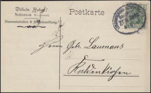 Bahnpost LIMBURG (LAHN) - ALTENKIRCHEN 4..6.13 auf Postkarte EF Germania 5 Pf.