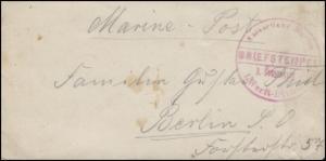 Marine-Post Briefstempel Kaiserliche Marine 1. Werft-Division Brief nach Berlin