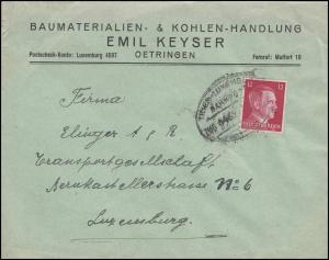 Bahnpost Trier-Luxemburg ZUG 6462 - 13.6.42 von Oetringen nach Luxemburg