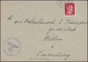 Luxemburg Hitler-EF 12 Pf Landrat des Kreises ESCH 21.9.43 nach Luxemburg Arelux
