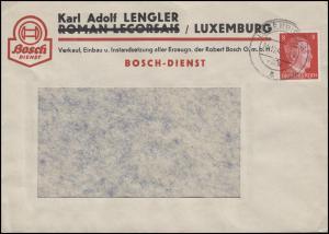 Luxemburg Hitler-EF 8 Pf auf Fensterbrief Bosch-Dienst LUXEMBURG 21.12.42