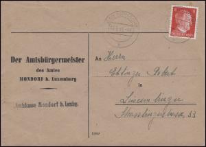 Luxemburg Hitler-EF 8 Pf Brief Amtsbürgermeister Amtskasse BAD MONDORF 10.5.43