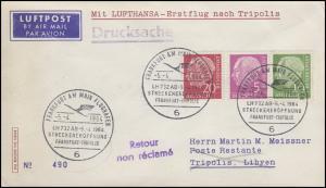 Erstflug LH 732 Frankfurt-Tripolis mit Heuss-ZD W 19 SSt FRANKFURT 5.4.64