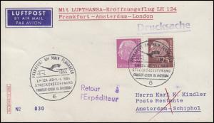 Erstflug LH 124 Frankfurt-Amsterdam-London mit Heuss-MiF SSt FRANKFURT 1.4.64