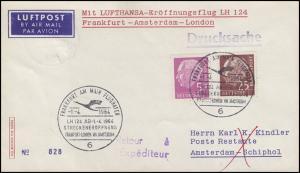 Erstflug LH 124 Frankfurt-Amsterdam-London mit Heuss 5+25, SSt FRANKFURT 1.4.64