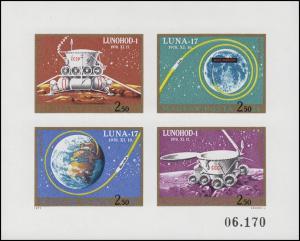 2654-2657B Kleinbogen Weltraumflug LUNA 17 & LUNOCHOD 1, Kleinbogen ungezähnt **