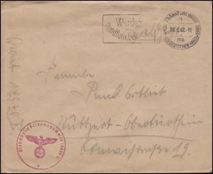 Feldpost Dienststelle 14970B von FRANKFURT / MAIN 1 ma - 20.6.42 nach Stuttgart
