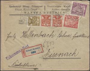202+204 Allegorie mit Freimarken MiF R-Bf. BOHUMIN C.S.P. 16.8.23 nach Eisenach