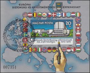 Ungarn Block 179B KSZE-Konferenz, Block ungezähnt mit ESSt Budapest 1.8.1985